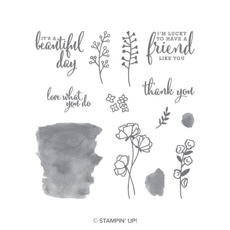 "The Love What You Do stamp set images include watercolor washes, flowers and leaves. The sentiments include ""I'm lucky to have a friend like you', 'thank you',  'it's a beautiful day' , and 'love what you do.'"