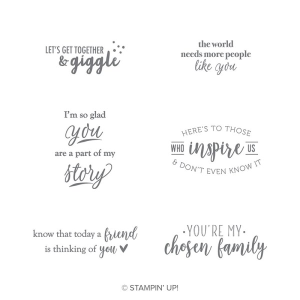 The Part of My Story stamp set has 6 great sentiments. It's available during Sale-a-Bration with a $50 purchase.