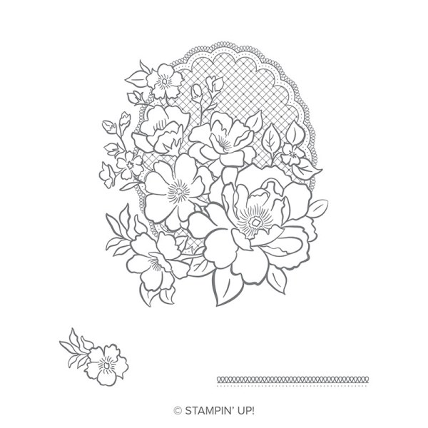 The Lovely Lattice Sale-a-Bration stamp set by Stampin' Up! has a large and small floral design that's perfect for sympathy, birthday and wedding cards.