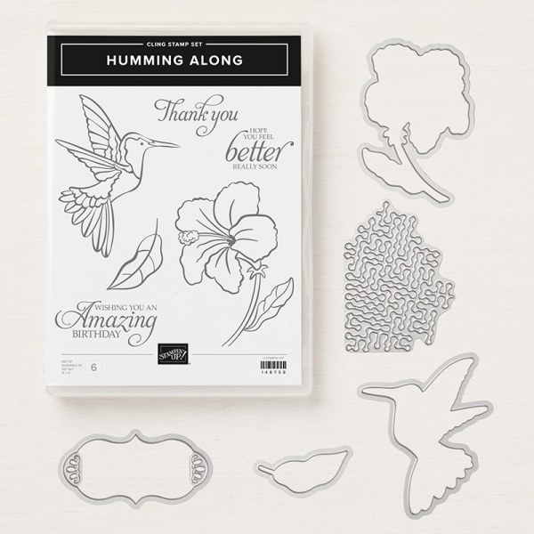 The Humming Along Bundle: stamp set and coordinating dies;. Hummingbird, flower , leaf and 3 sentiments plus dies.