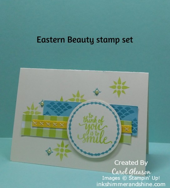 A Very Vanilla note card using pretty paper scraps stamped with the Eastern Beauty stamp set by Stampin' Up! The sentiment here is 'To think of you is to smile,' and there are many other options.
