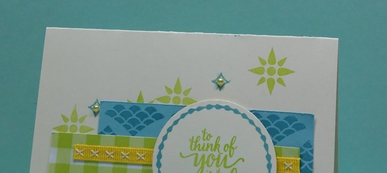 A Very Vanilla note card and some paper scraps stamped with the Eastern Beauty stamp set by Stampin' Up!