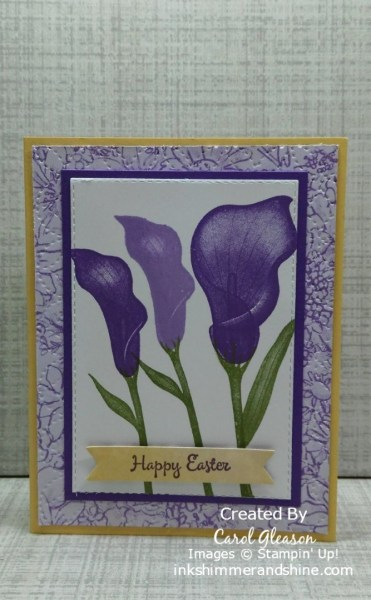 Easter Card with Stampin' Up! Lasting Lily stamp set. Color combo: So Saffron, Gorgeous Grape and Highland Heather.