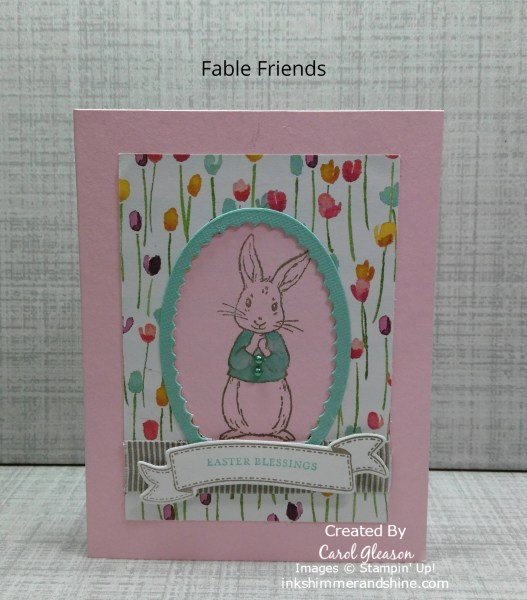 Easter card with the Fable Friends bunny framed in Pool Party on a pink background with tulips.