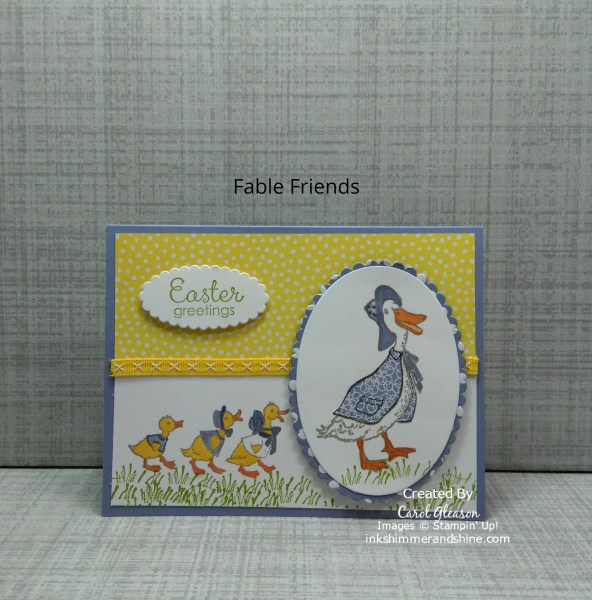 Easter card featuring the Fable Friends mother duck, followed by her three babies.