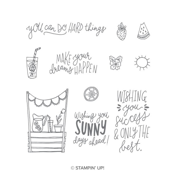Stampin' Up! Sunny Days stamp set with fruit and lemonade images and wonderful sentiments!