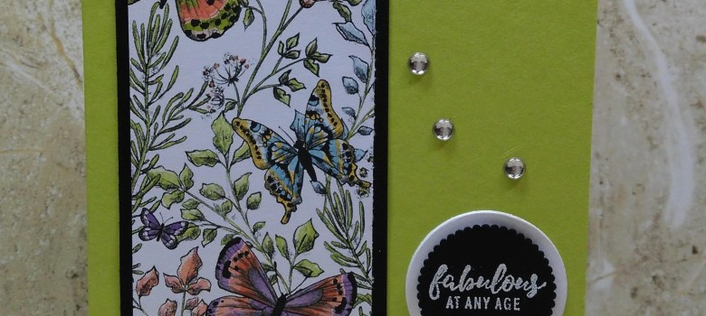 Bold butterfly birthday card with the sentiment Fabulous at Any Age