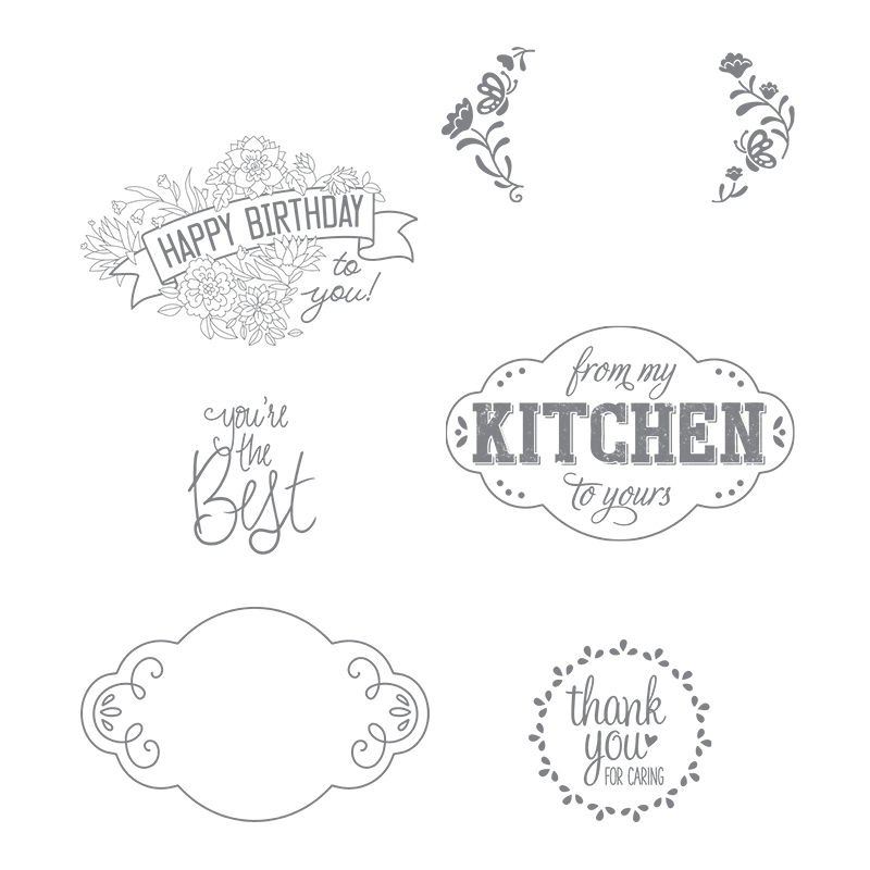 The Label Me Pretty stamp set has images that are perfect for gift-giving, as well as card-making. Two of them are decorative, with space to stamp a different sentiment.