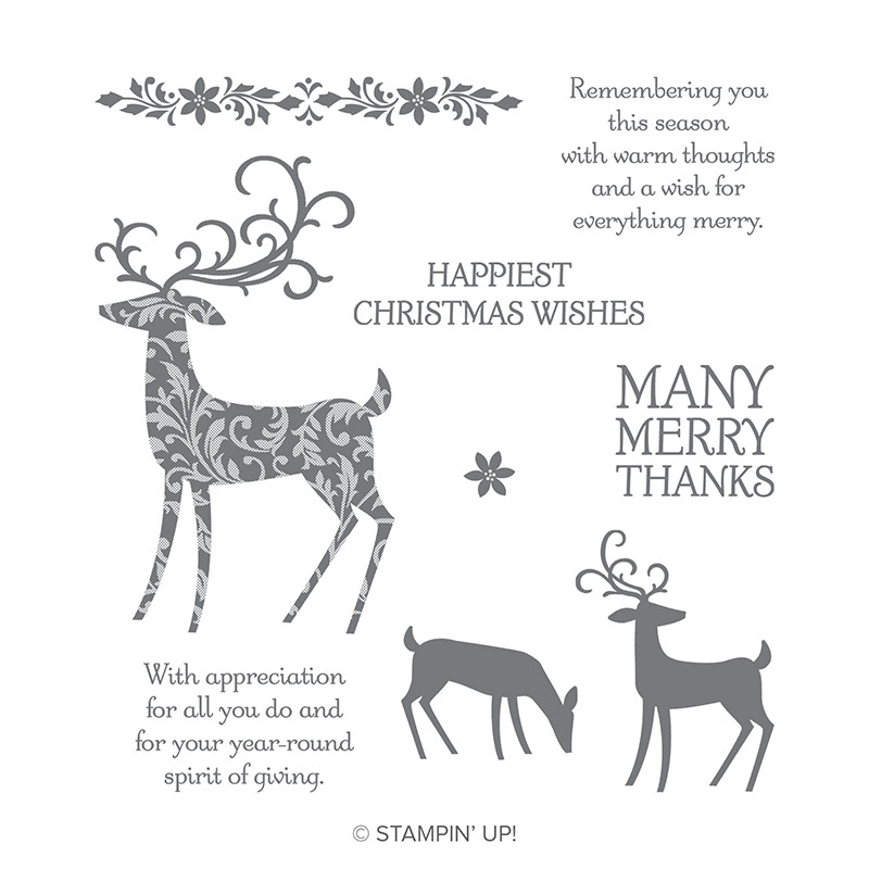 The Dashing Deer Stamp Set by Stampin' Up! contains several deer images as well as sentiments like Happiest Christmas Wishes.