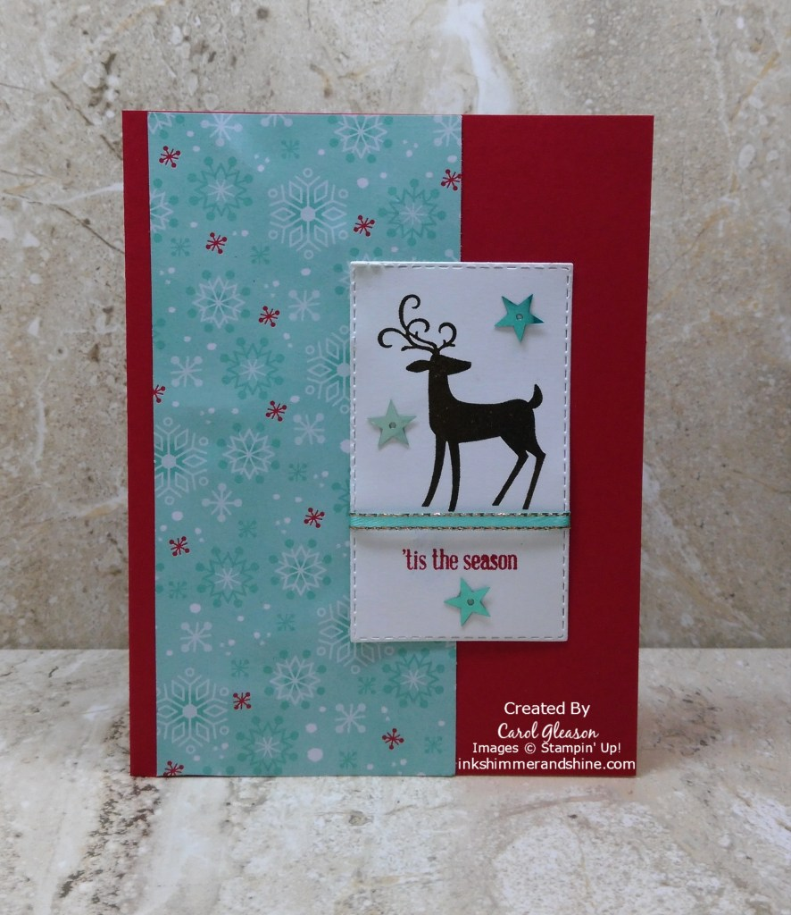 Changing the pretty paper to Let it Snow and adding different embellishments gives the 'Tis the Season for Dashing Deer card a whole new look!
