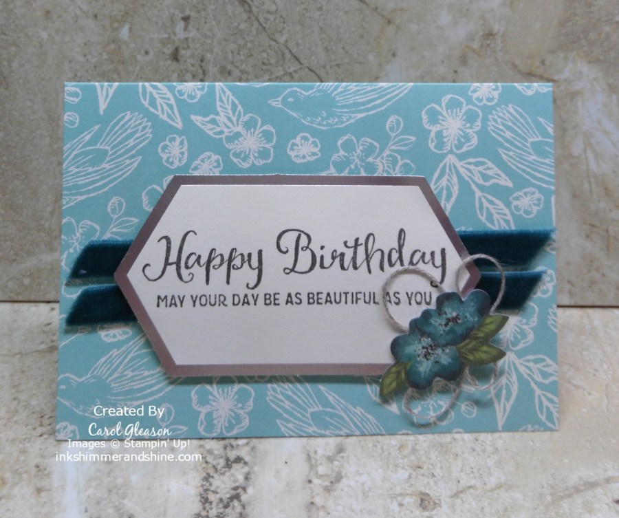 The birthday sentiment from the Beautiful Day stamp set fits perfectly on the labels in the Hugs From Shelli May 2019 Paper Pumpkin card kit!