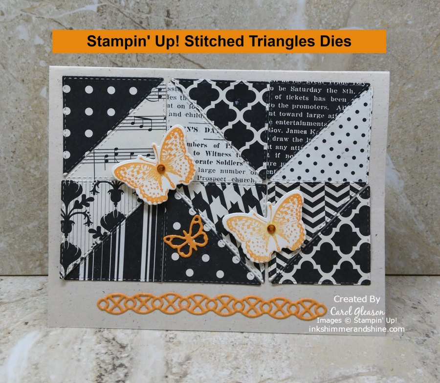 Black and vanilla patterned paper die cut with the Stampin' Up! Stitched Triangles Dies.