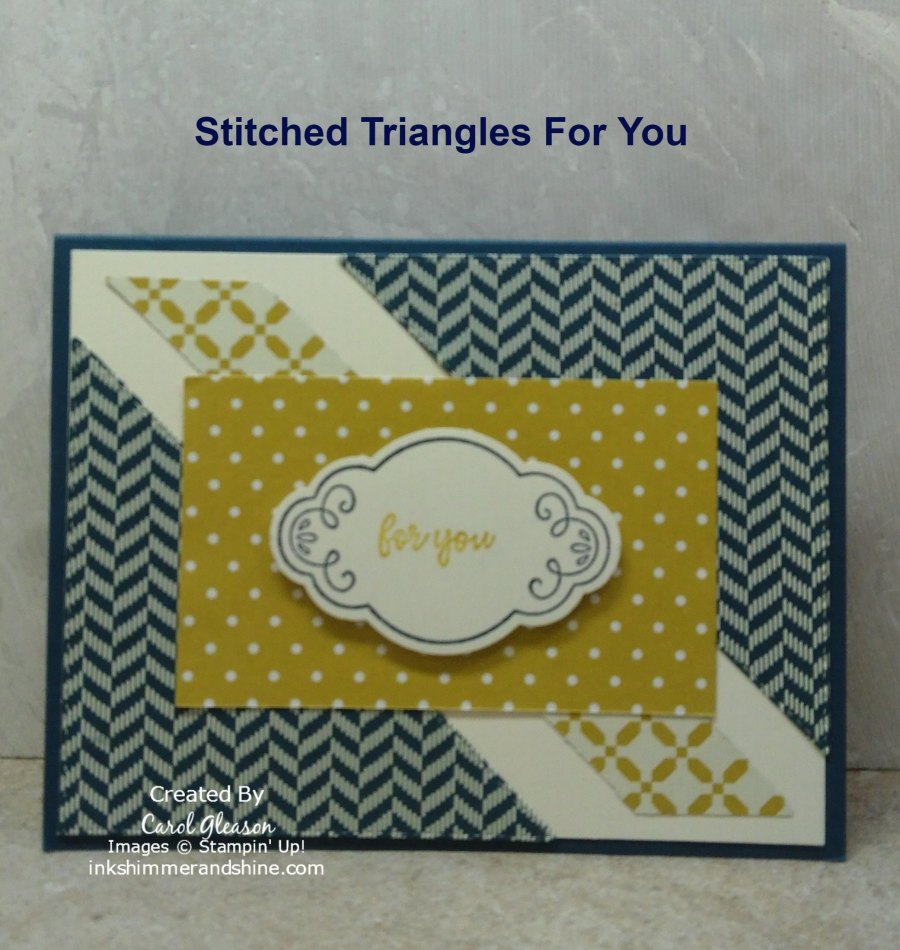 Triangle split card using the largest right triangle in the Stampin' Up! Stitched Triangles Dies set.