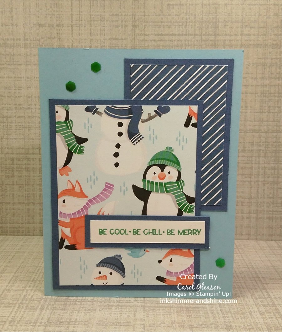 """A Penguin Playmates card using a 4"""" x 3"""" rectangle and a 2"""" x 3"""" rectangle. The Be Cool Be Chill Be Merry sentiment is from the coordinating Penguin Place Bundle. #inkshimmerandshine #penguinplaymates #penguinplace #christmascards"""