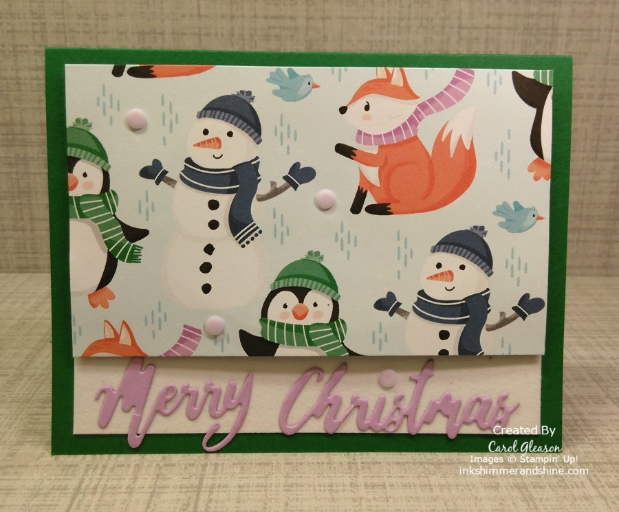 This Penguin Playmates Day 2 card features a raised panel and a greeting die cut using the Word Wishes Dies. #inkshimmerandshine #penguinplaymates #wordwishesdies