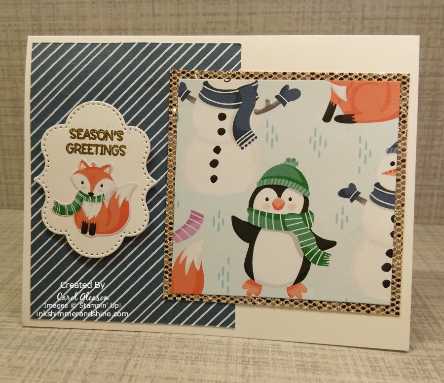 Penguin Playmates Day 1 - This card showcases the Be Dazzling specialty paper, as well as the Penguin Playmates DSP. Both are items you can earn for free with a qualifying Stampin' Up! order during Sale-a-Bration! #inkshimmerandshine #penguinplaymates #penguinplace #snowflakewishes #bedazzling #christmascards #frightfultagsdies