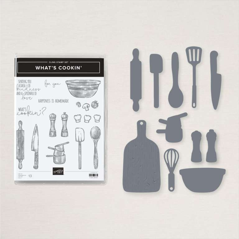 Cooking and baking images and coordinating dies in the Stampin' Up! What's Cookin' Bundle.