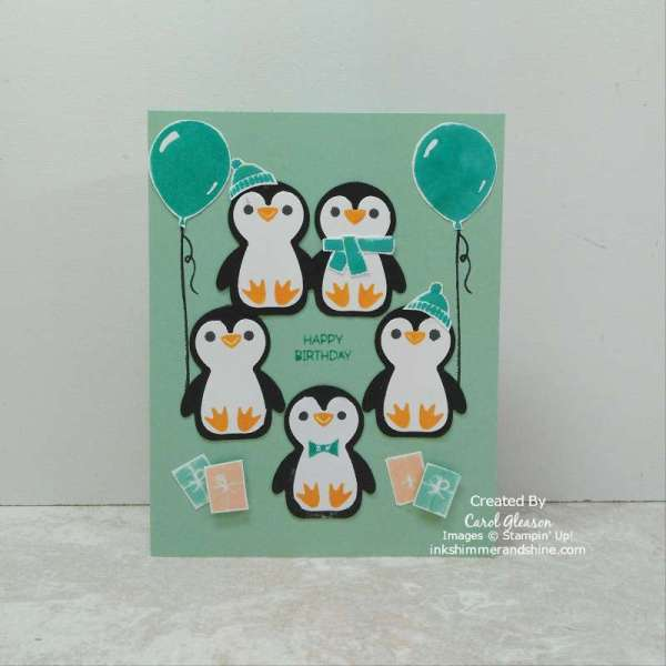 A Penguin Party birthday card showing placement of the penguins and all their accessories from the Stampin' Up! Penguin Place Bundle.
