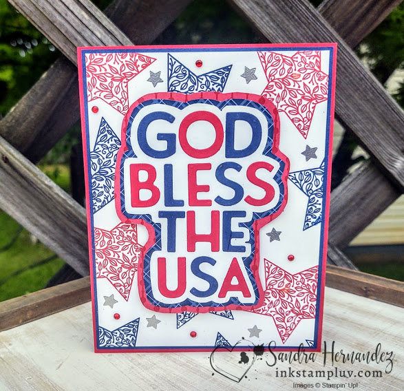 God Bless the USA Red White Blue Card