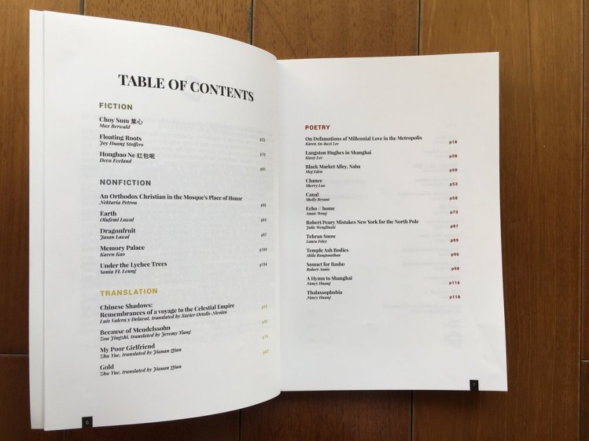 Table of contents Shanghai Literary Review No. 2