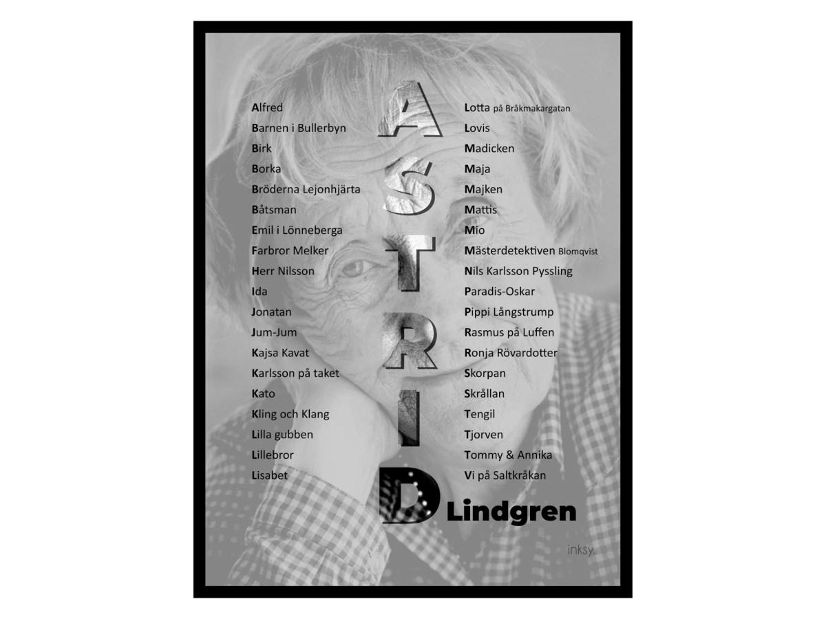 Astrid Lindgren tavla poster