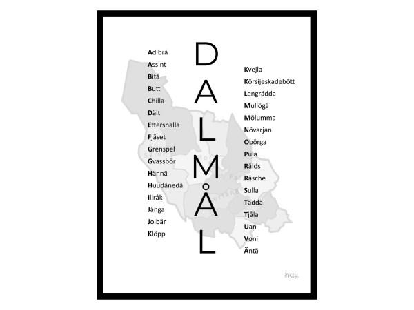 Dalmål svart Dalarna tavla poster dialekt