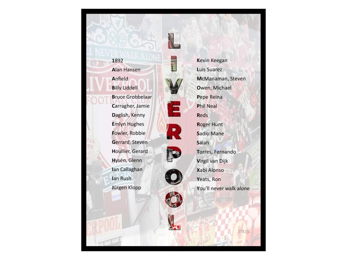 Liverpool FC poster tavla legender