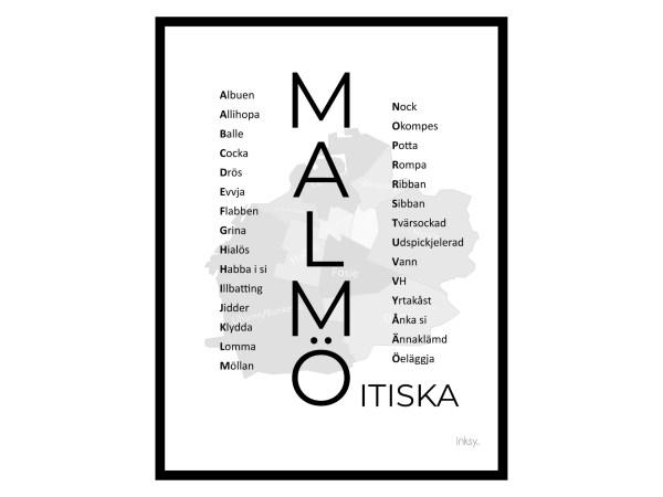 Malmöitiska svart Malmö dialekt tavla poster