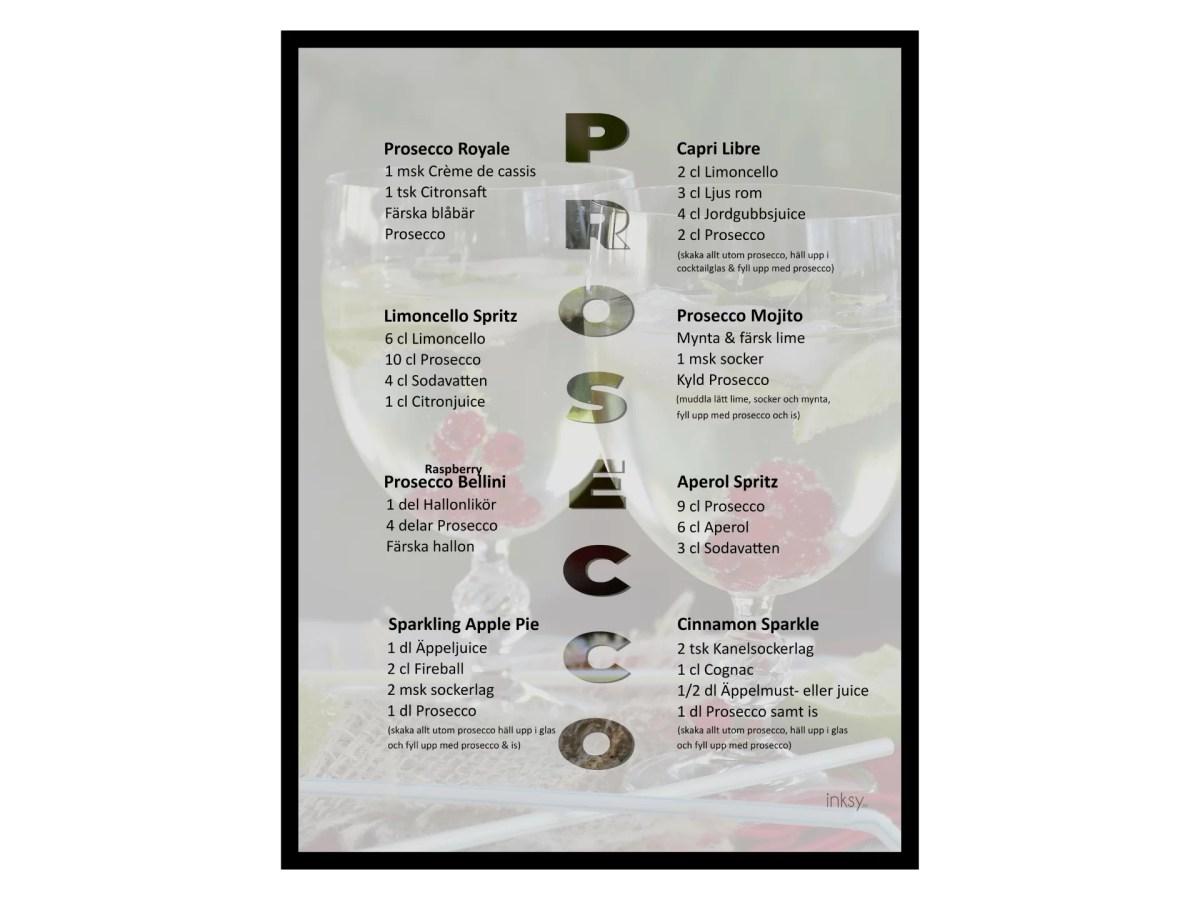 Prosecco drinkrecept tavla poster
