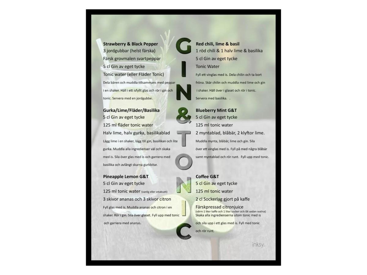Gin tonic drinkrecept tavla poster