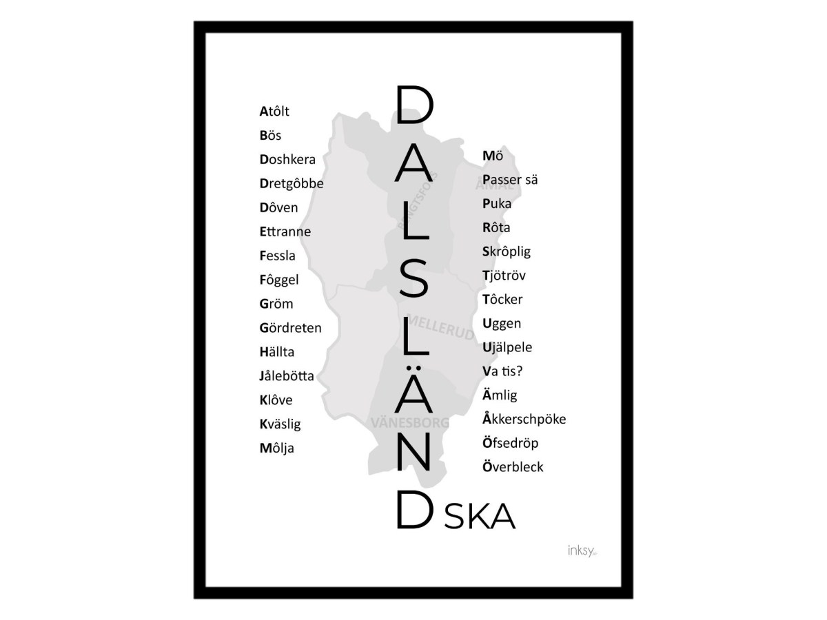 Dalsland poster tavla dialekt Dalsländska