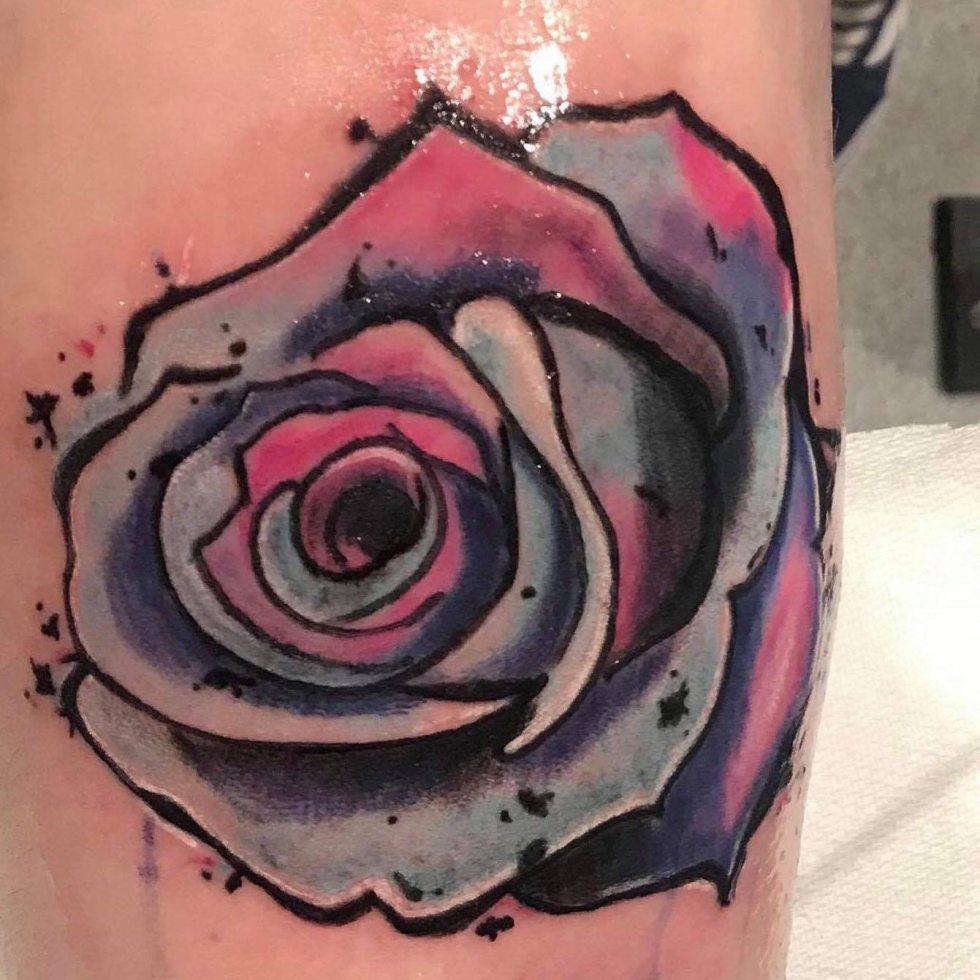Rose tattoo colourful