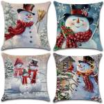 Set Of 4 Winter Snowman Home Decorative Pillows Christmas Throw Pillow Covers Personalized Gifts