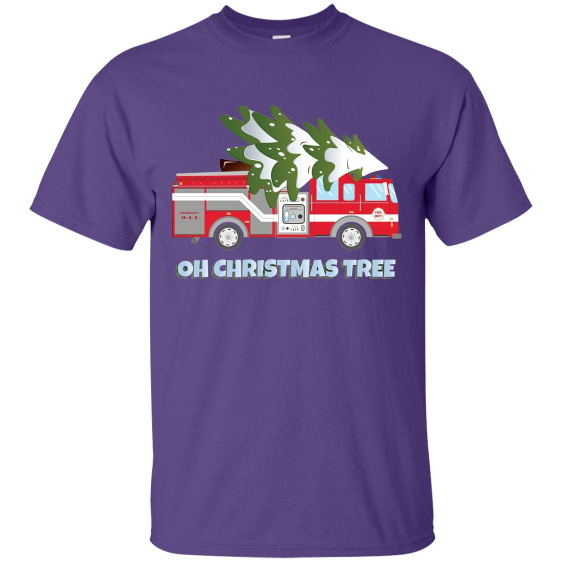 Funny Firefighter Christmas Gifts - Oh Christmas Tree Men\'s T-Shirt