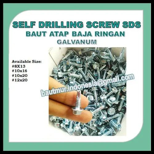 menyambung hollow baja ringan self drilling screw sds baut atap 8x13 roofing