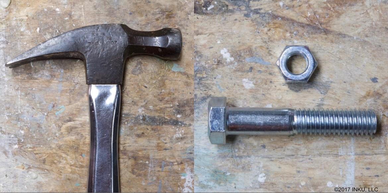 hammer, bolt and nut
