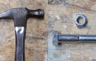 hammer, bolt and nut