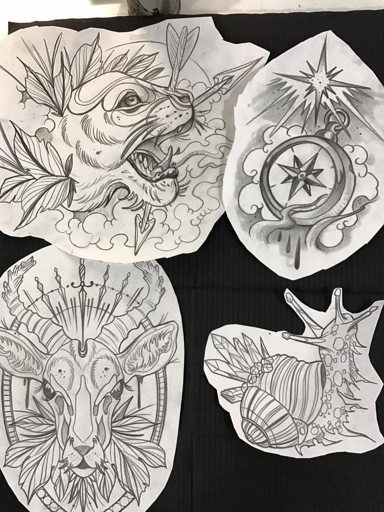 Diseños Neotradicionales Y Newschool Pantera Brújula Alce