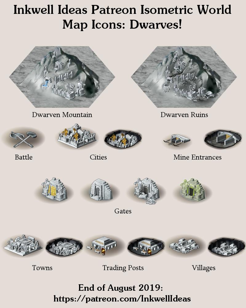 Dwarven City Map : dwarven, Dwarven, Isometric, World/Kingdom, Icons, Preview, Inkwell, Ideas