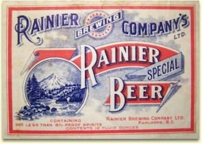 Rainier Beer label Kamloops BC 1921
