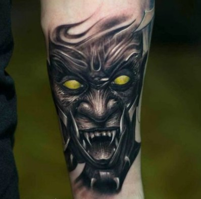 Victor-Portugal-Black-And-Gray-Demon-Tattoo-With-Color-Eyes