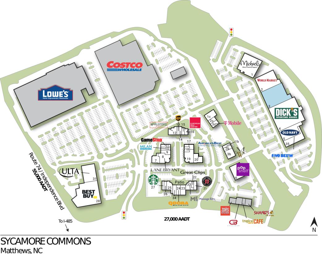 Matthews Nc Sycamore Commons  Retail Space  Inventrust
