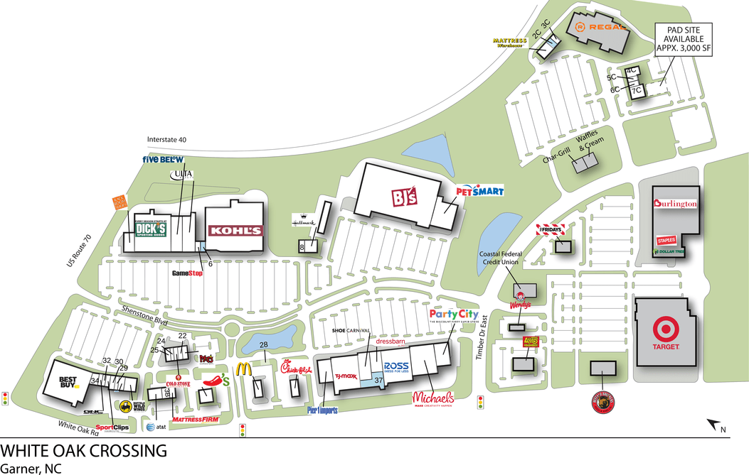 Garner Nc White Oak Crossing  Retail Space  Inventrust
