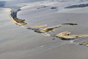 Erosion of the shore line