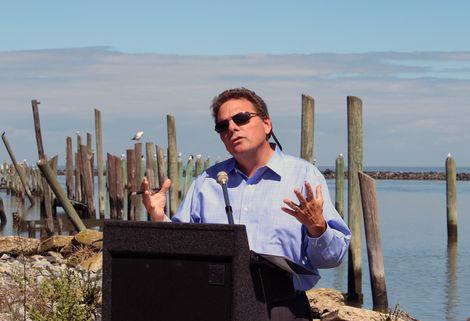 DNREC Secretary David Small speaks at the Sea Level Rise Awareness Week kickoff on Sept. 10. (Photo: Staff photo)