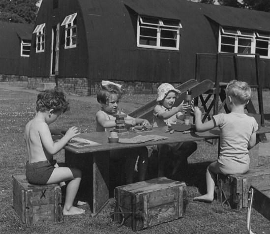Practising school Wimbledon, circa 1950, using army Nissan huts for classrooms