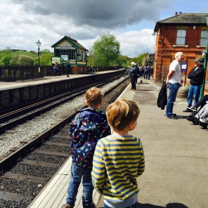 Waiting at North Weald for the steam train's arrival...