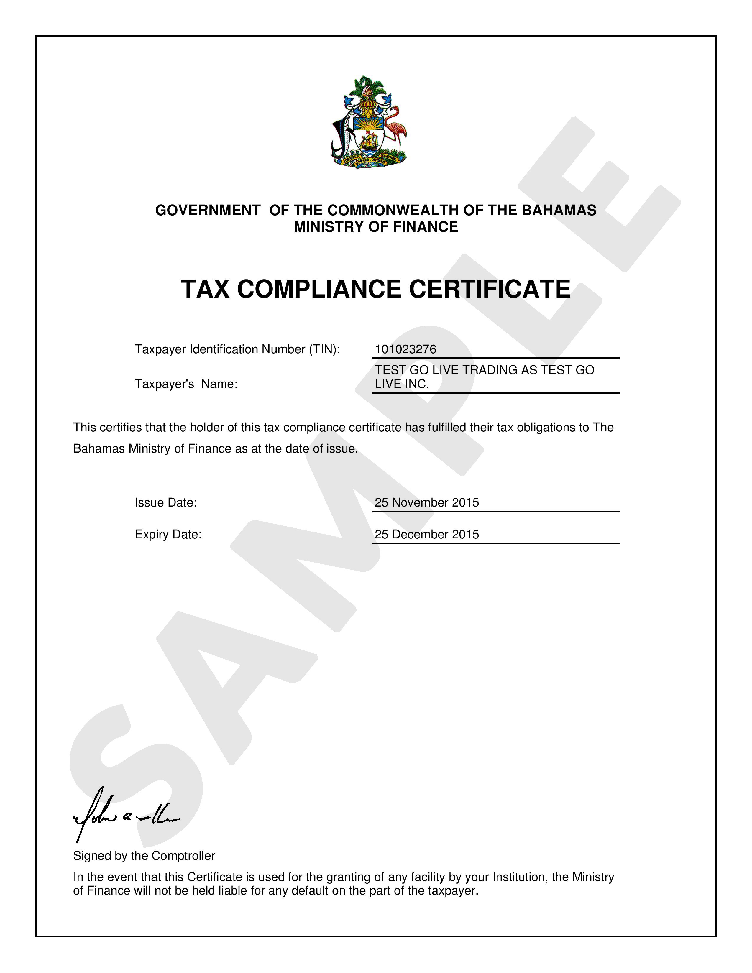 Tax Compliance Certificate Department Of Inland Revenue