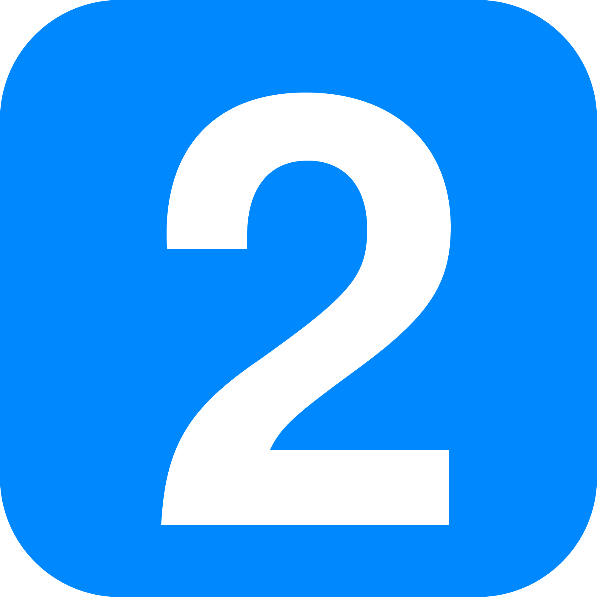 Number 2 In Light Blue Rounded Square