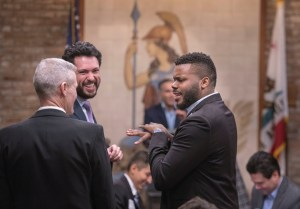 Don Howard, Moses Zapien, and Michael Tubbs at the Inland California Rising coalition, State Capitol. February 19, 2019.